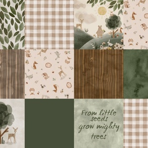 Beige Woodsy Quilt - little seeds grow mighty trees