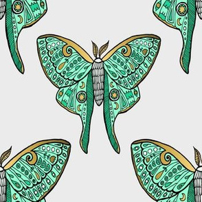 Luna Moth Butterfly Mint and Gold Pattern