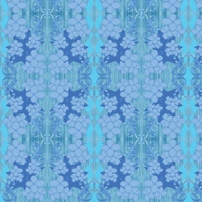 Abstract blue floral mirror