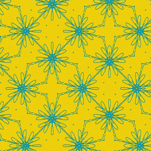 Floral Pattern in yellow and blue