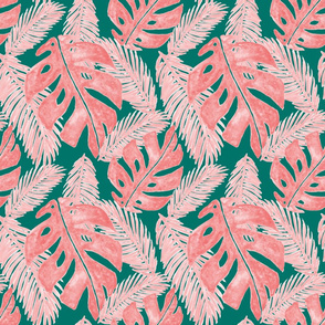 Pink and Green Tropical Monstera Leaf Pattern