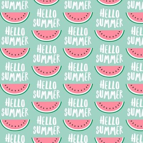 Hello Summer - watermelon - pink on mint - LAD21