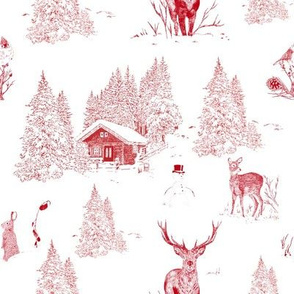 Red Winter Toile