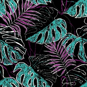 Abstract moody tropical leaves