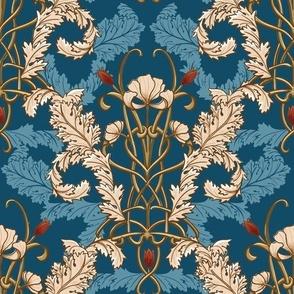 Art nouveau wallpaper peacock small