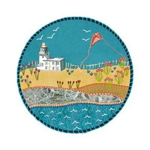 Beside the lighthouse beach scene  embroidery
