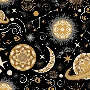 Galaxy Mandala- Bohemian Space Adventure- Goldenrod Isabelline Honey on Black- Large Scale