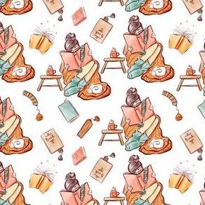 Hand drawn watercolor cozy reading pattern design