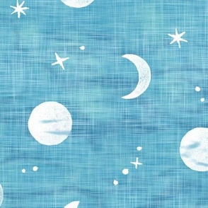 Shibori Moons and Stars on Turquoise (xl scale)   Night sky fabric, block printed moon on linen pattern, crescent moon, arashi shibori linen in azure blue and turquoise.