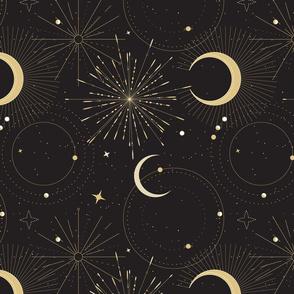 Mystical universe sun moon - gold