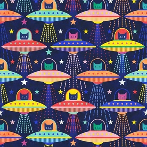 Intergalactic Cats- Rainbow Space Cat- Vintage Multicolored Pets- 80s Retro- Outer Space Ufo Arcade Games