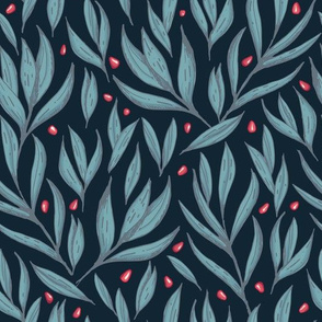 Pomegranate seeds and leaves | dark blue green | hand drawn