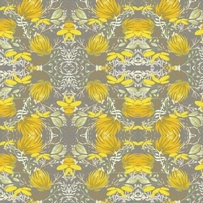 Abstract Ikat yellow and grey floraL
