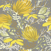 Floral in grey and yellow