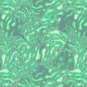 Nebula, Dark green and light green wavy stripes on a gray background