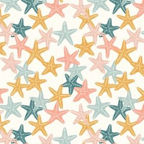 (small scale) Starfish - butterscotch - summer beach nautical - C21