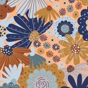 BIG Bohemian Retro floral earth tones