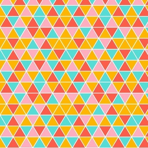 Yellow, pink, blue triangles
