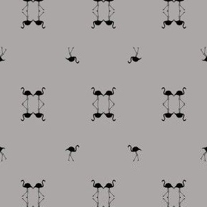 Black and grey geometric flamingos