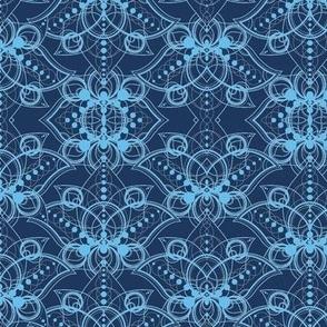 Lace blue geometric lotus
