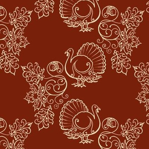 Autumn Turkey Filigree Cream on Brown SPSQFALL21