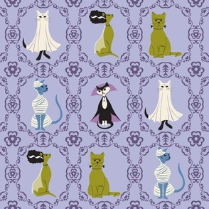 Halloween Cats Purple, Ornate Frames