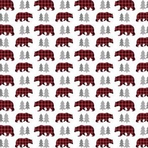 TINY Bears & Trees – Red + Black Plaid Bear Buffalo Plaid Check Woodland Baby Boy Nursery Bedding