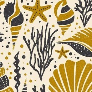 Washed Ashore - Nautical Seashells - Ivory Gold Large Scale
