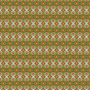 Diamond weave (A) in green, red and orange tones