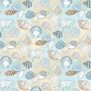 Seashells in Shades of Blue and Brown