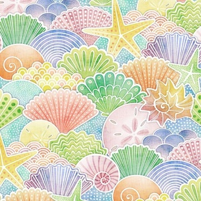 Rainbow Seashells Large Scale- Multicolored Shells- Pastel Colors- Summer at the Beach- Seaside Rainbow- Kids- Baby Wallpaper