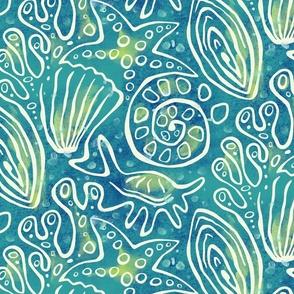 Deep Sea Connections - Large Scale - seashells, starfish, clam, ocean, coral reef, marine