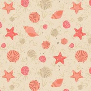 Shells and Starfish on the Sand