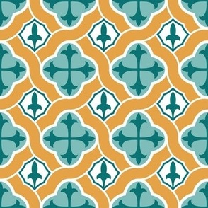 Fleur de Lys Ogee // Gold and Teal