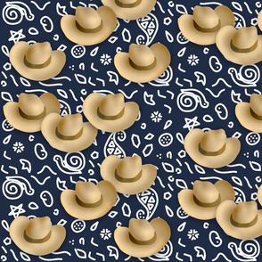 Cowboy Hats Navy Blue Bandana Print