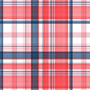 Large twill plaid light red and blue