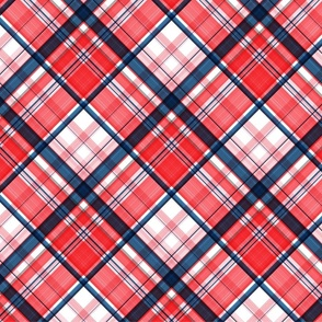 Large twill diagonal plaid dark red and blue
