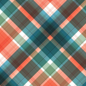 Large twill diagonal plaid with orange and