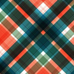 Large twill diagonal plaid dark  with orange and