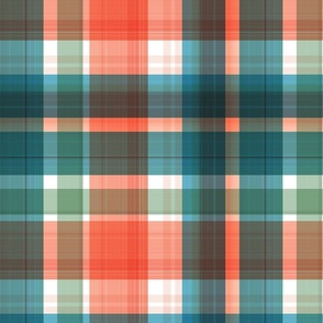 Large twill plaid light with orange and