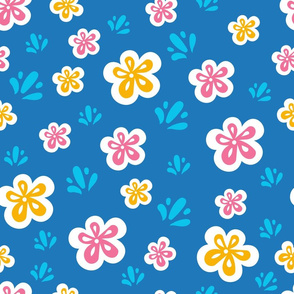 Retro flowers and splash pattern_cornflower