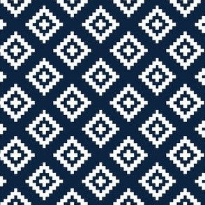 Geometric White on Navy Aztec