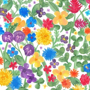 Wild flowers watercolour on white_big