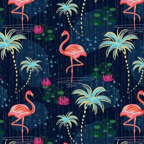 Rain season, flora by tropics, tropical, pink flamingo, flamingos, flamingo design, flamingo pattern, tropical palms, whimsical, bohemian, palms, dark blue, navy, flamingo.