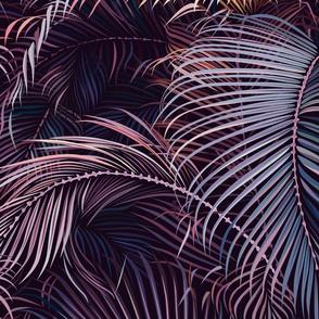 Amid the tropical jungle at night