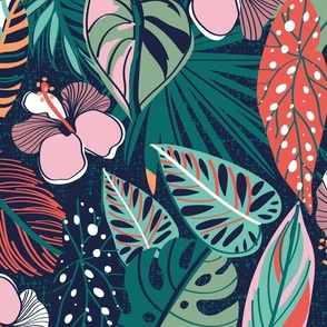 Moody tropical night // large jumbo scale // oxford blue background coral spearmint papaya orange jade and pine green leaves cotton candy pink and dry rose hibiscus flowers