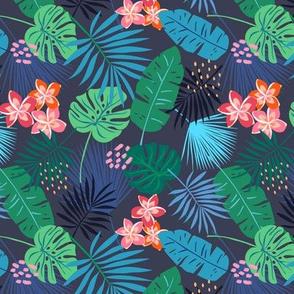 Tropical Leaves and Frangipani dark