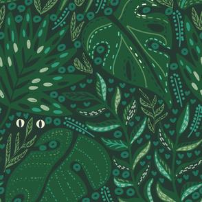 Hiding in Moody Tropical Leaves Deep Botanical Green Jungle Flora