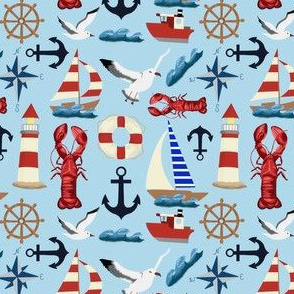 Summer Nautical Sailboats on Blue