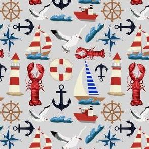 Summer Nautical Sailboats on Gray